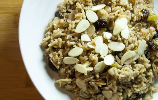 The mighty almond and raisin pilaf  (gf)