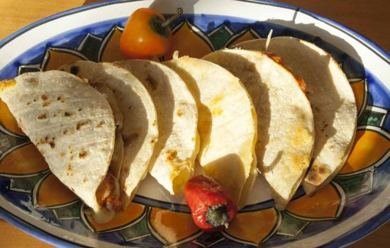 Quesadillas with authentic mexican corn tortillas (GF, V)