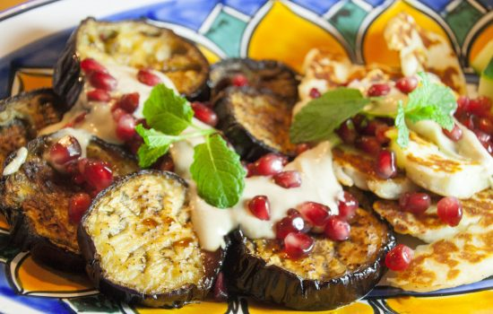 Aubergine, Halloumi, Tahini and Pomegranate spectacular with Za'tar (GF, V)