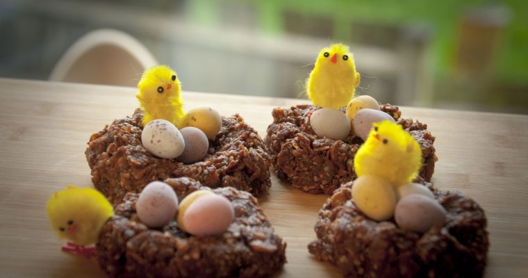 Almost healthy chocolate easter nests (GF, V, NF)