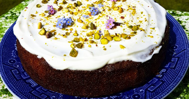 Elderflower and pistachio cake recipe and spring birthdays (GF, V)